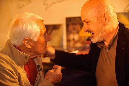 Walter Bonatti y Sebastián Álvaro, en abril de 2008. Foto: Sebastián Álvaro